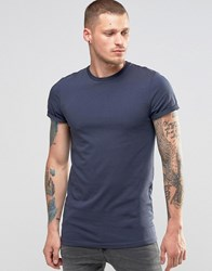 Asos Longline Muscle T Shirt With Roll Sleeve In Blue Ombre Blue
