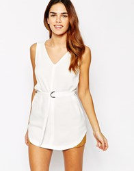 Warehouse D Ring Detail Tunic Top White
