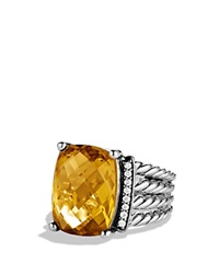 David Yurman Wheaton Ring With Lemon Citrine And Diamonds Silver