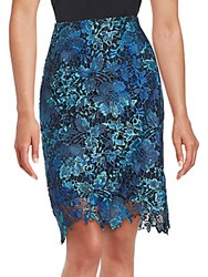 T Tahari Floral Lace Skirt Royal Blue
