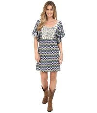 Rock And Roll Cowgirl Kimono Sleeve D5 6726 Navy Women's Dress