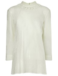 Isa Arfen Snow Sheer Lace Collar Blouse White
