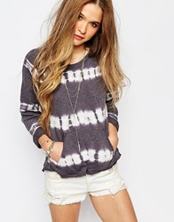 Billabong Tie Dye Slouchy Sweatshirt With Front Pocket And 3 4 Sleeves Black