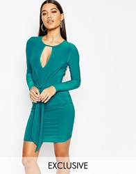 Club L Tie Knot Detail Mini Dress Light Teal Green