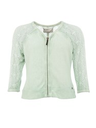 Garcia Cotton Jacket With Lace Sleeves Green