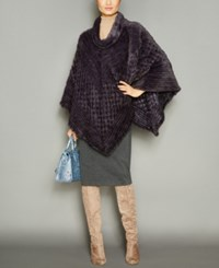 The Fur Vault Knitted Mink Poncho Blue Iris