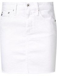 Ag Jeans Frayed Denim Pencil Skirt White