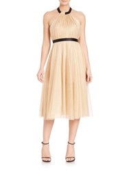 Abs By Allen Schwartz Metallic Tulle Halter Dress