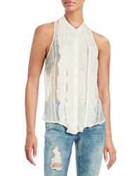 Free People Ruffle Front Blouse Ivory