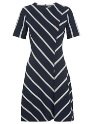 Whistles Chevron Stripe Jersey Dress Navy