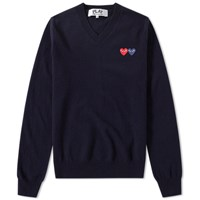 Comme Des Garcons Play Double Heart V Neck Jumper Blue