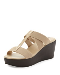 Neiman Marcus Florence Crisscross Slide On Wedge Beige