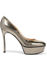 Casadei Metallic Patent Leather Platform Pumps Gray
