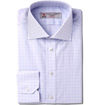 Turnbull And Asser Slim Fit Windowpane Checked Cotton Shirt Purple