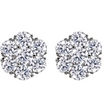 Carat Flower Sterling Silver And Solitaire Studs