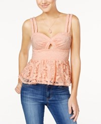 Material Girl Juniors' Lace Cutout Peplum Top Only At Macy's Pale Blush
