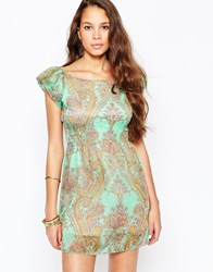 Pussycat London Skater Dress In Paisley Print Green