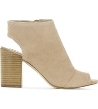 Aldo Barefoot Suede Heeled Ankle Boots Natural