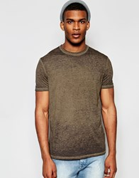 Asos T Shirt With Burn Out Wash In Relaxed Fit In Brown Sand Dune Grey