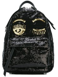 Chiara Ferragni 'Flirting' Sequin Backpack Black