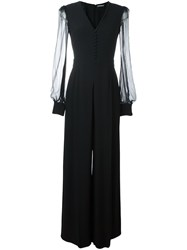 Alexander Mcqueen V Neck Evening Jumpsuit Black