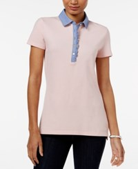 Tommy Hilfiger Felicity Ruffled Polo Top Peachskin