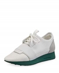 Balenciaga Mixed Media Leather Lace Up Sneaker White