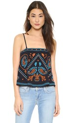 Free People Flirt Alert Crop Top Blue