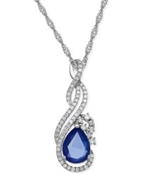 Macy's Sapphire 1 1 3 Ct. T.W. And Diamond 1 5 Ct. T.W. Pendant Necklace In 14K White Gold