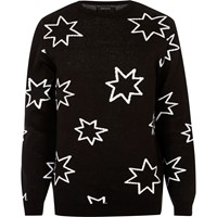 River Island Mens Black Star Print Slim Fit Jumper