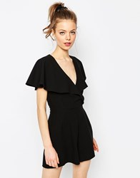 Asos Ruffle Wrap Playsuit Black