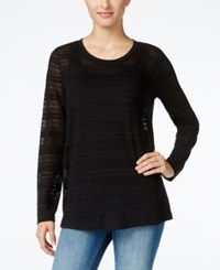 Styleandco. Style Co. Illusion Striped Top Only At Macy's Deep Black