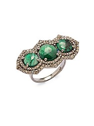 Bavna Diamond Emerald And Sterling Silver Ring Size 7