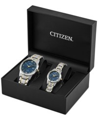 Citizen Men's And Women's Pairs Two Tone Stainless Steel Bracelet Watch Box Set 40Mm 30Mm Pairs 2016 A Macy's Exclusive Style Blue
