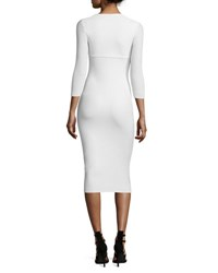 La Petite Robe Di Chiara Boni Custom Collection Serenity 3 4 Sleeve Sweetheart Knee Length Cocktail Dress Blanco