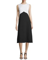 Narciso Rodriguez Sleeveless Bicolor Crepe Dress Black White