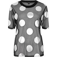 River Island Womens Black Polka Dot Mesh Boxy T Shirt