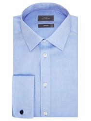 John Lewis Non Iron Twill Double Cuff Tailored Fit Shirt Blue