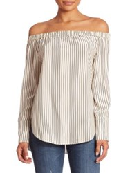Rag And Bone Greta Striped Silk Blouse Black White