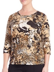 Basler Plus Size Leopard Print Three Quarter Length Sleeve Tee Camel Black