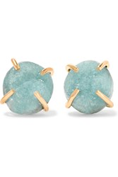 Melissa Joy Manning 14 Karat Gold Druzy Earrings Gold Sky Blue