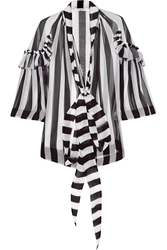 Givenchy Blouse In Black And White Striped Silk Chiffon
