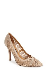 Women's Kay Unger 'Sardana' Satin And Ribbon Lace Pointy Toe Pump Champagne