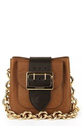 Burberry 'Small Belt Bag' Leather And House Check Shoulder Bag Brown Tan