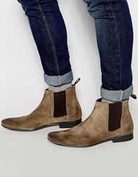 Frank Wright Chelsea Boots In Taupe Suede Brown