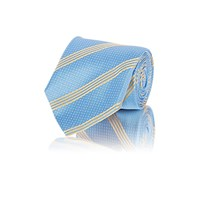 Barneys New York Diagonal Striped And Micro Dot Necktie Blue