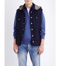 Brunello Cucinelli Quilted Wool And Silk Blend Gilet Navy