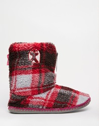 Bedroom Athletics Macgraw Pink Check Slipper Boots Skychocolate