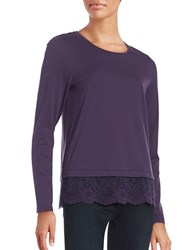 Lord And Taylor Petite Lace Hem Tee Frost Grape