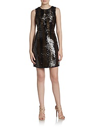 Vince Camuto Ombre Sequin Shift Dress Brown Black